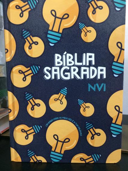 Biblia Nvi Lampada Capa Especial Verniz Borda Lateral Luz