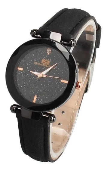 3 X Relógio Feminino Pulseira Couro Ds Céu Estrelado