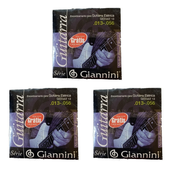 Kit 3 Encordoamento Para Guitarra 013 056 Giannini Geegst13