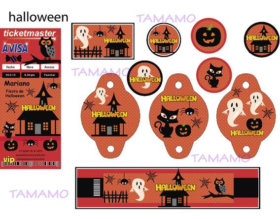 Hallowen Kit Cumple Candybar Invitación Deco