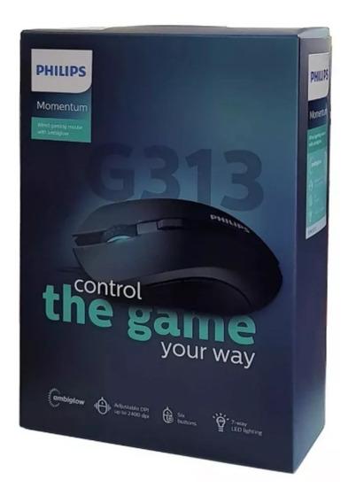 Mouse Philips G313 Gamer Usb 2.0 Fio Dpi Ajustável Original