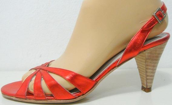 Maggio&rossetto Sandalias 36 Cuero Rojo Metalizado-ana.mar