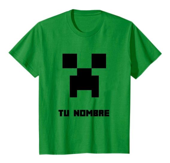 Remeras Minecraft Niños Alg 20/1 T: 2-4-6-8 + Tu Nombre
