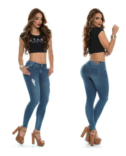 Jeans Mujer Levanta Cola Push Up Pantalon Juvenil Bota Tubo Mercado Libre