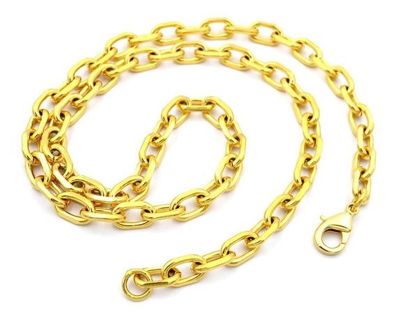 Corrente Cordão Masculina 60cm B-2146 Elos Aço Banhado Ouro