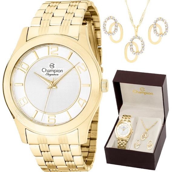 Kit Relógio Champion Feminino Com Colar E Brincos Cn25305w