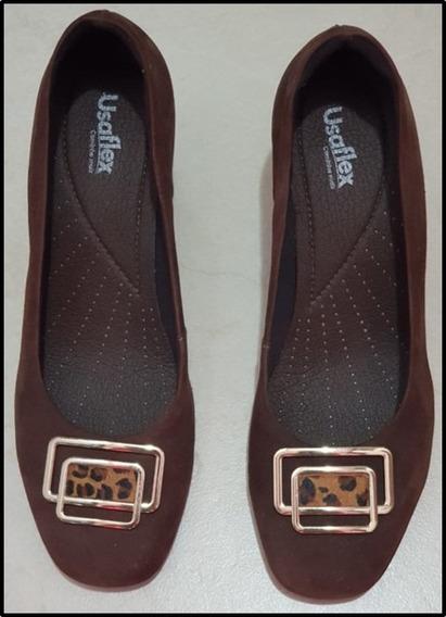 Sapato De Camurça N° 38Salto Quadrado 7 CmMarca Usaflex