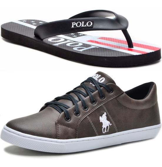 Kit Chinelo Masculino Polo + Tênis Polo Plus Original