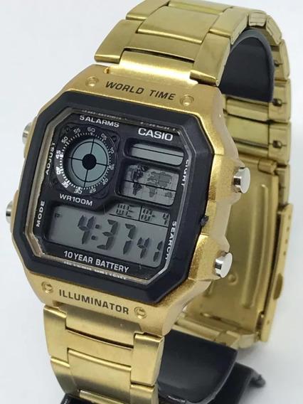 Relogio Cassio Original Dourado Ae1200 Mapa Mundi 5 Alarme