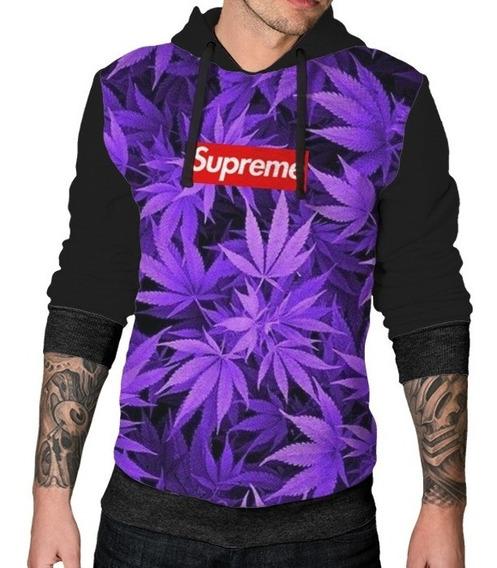 Blusa Sintético Unissex Supreme Erva Ganja Roupa Purple Lean