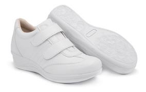Tênis Feminino C/ Salto P/ Esporão Confortável Branco Macio
