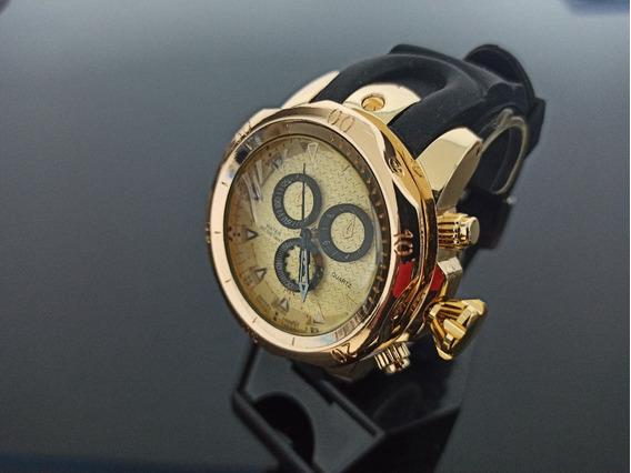 Relógio De Pulso Masculino Dourado Pulseira De Borracha
