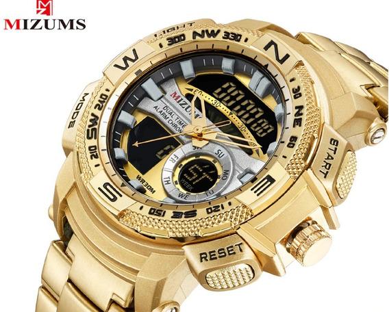 Relógio Masculino, Esporte, Pulso, Cor Dourado (ouro) - Rd04