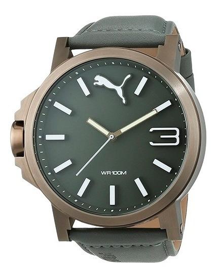 Relógio Puma Pu103461004 Ultrasize - Pulseira Couro Cinza