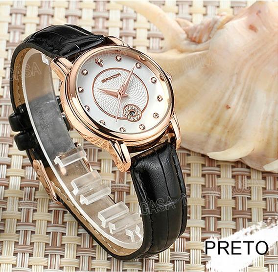 Relógio Feminino Importado Elegante Casual Couro Preto