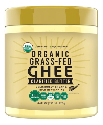 Imagen 1 de 4 de Ghee Organico Grass Fed 250ml Libre Pastoreo Kosher/halal