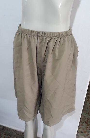 Pollera Pantalon Fibrana Con Elastico Verde Aceituna