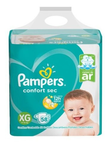 Imagen 1 de 1 de Pampers Confort Sec Bag Xg 58