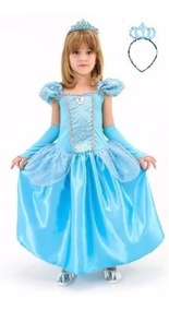 Vestido Fantasia Cinderela Festa Com Coroa E Luvas