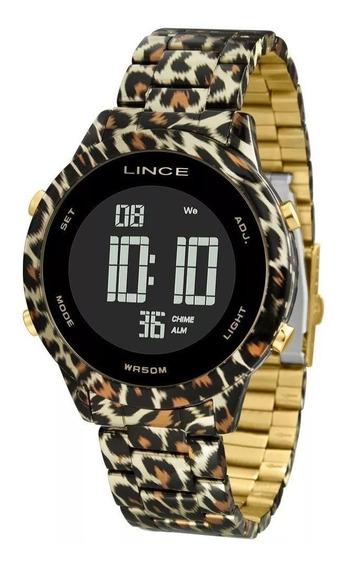 Relógio Lince Feminino Dourado Rose Sdh0103l Onça Digital