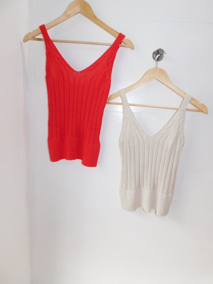 Remera Musculosa Hilo Mujer Natural Roja Mc Cuotas
