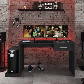 Mesa Gamer 1 Gaveta Drx 9000 Siena Móveis Preto Black Gd