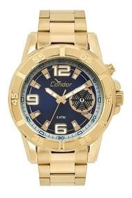 Oferta Relógio Condor Masculino Dourado Caixa Grande Co2317