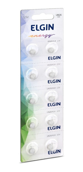 Bateria Alcalina Elgin Lr626 Ag4 1,5v Cartela C/10 Unid.