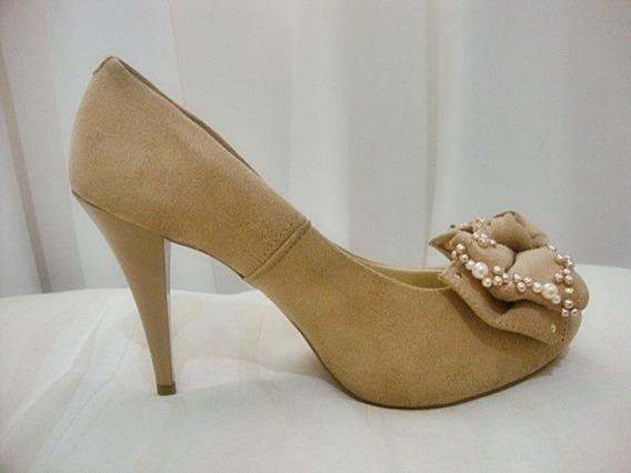 Sapato Feminino Peep Toe Nude Bordado - Sapato De Noiva !!!