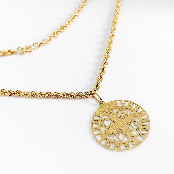 Corrente Unissex Baiano 60cm Grossa+são Bento Ouro 18k