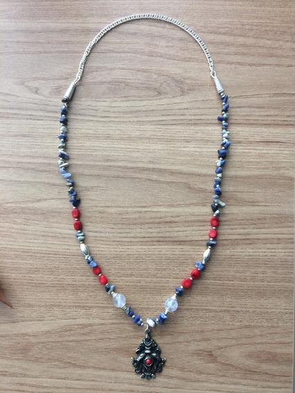 Colar Pedras De Quartzo Azul+jaspe E Medalhão Da Prosperidad
