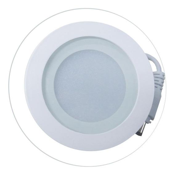 5 Un - Luminária Plafon Led 6w Vidro Embutir Redond/quadrad