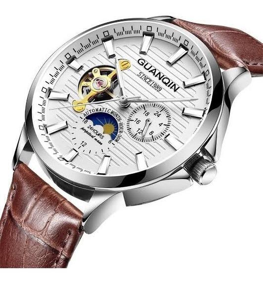 Relógio Automatico Guanqin Tubilhão Fundo De Vidro