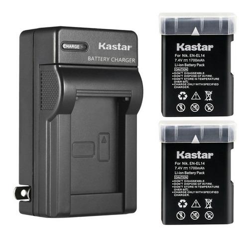 Imagen 1 de 1 de Cargador + 2 Baterías Nikon En-el 14 D3100 D3200 Kastar
