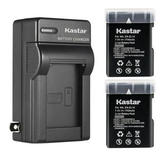 Cargador + 2 Baterías Nikon En-el 14 D3100 D3200 Kastar