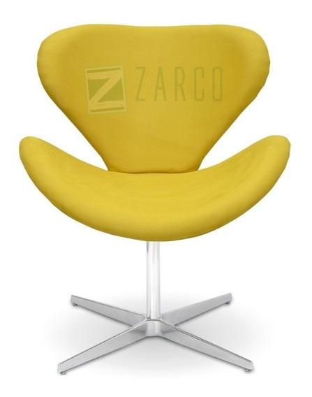 Poltrona Decorativa Swan Suede Amarela Base Giratória Zarco