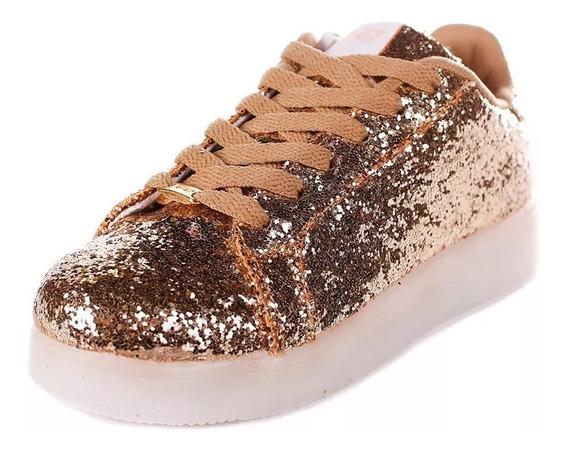Zapatillas Footy Led Doradas Con Glitter 47 Street!