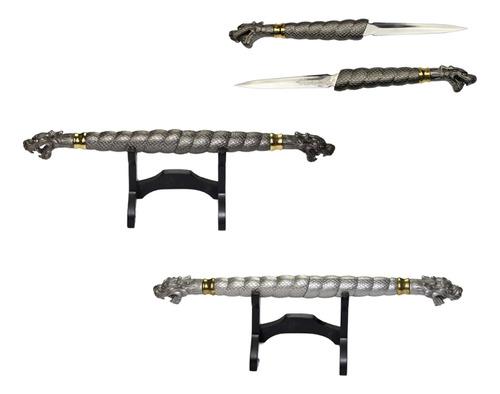 Bastão Espada Dupla Lâminas Embutidas 49cm Adaga Dragão