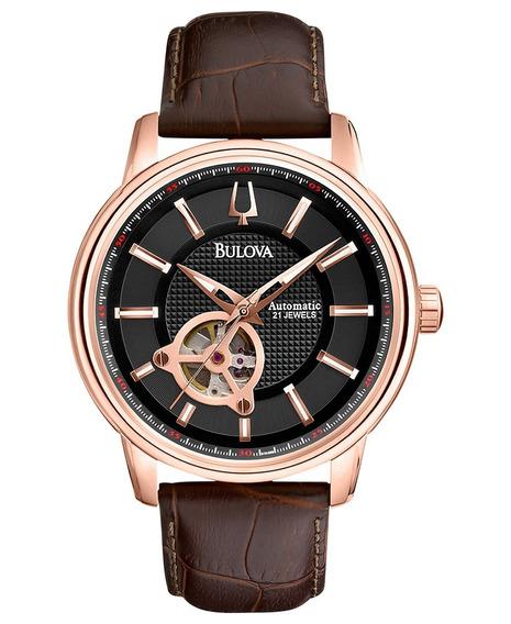 Relógio Luxo Bulova 97a109 Orig Mec Autom Gold Rose Couro!!!