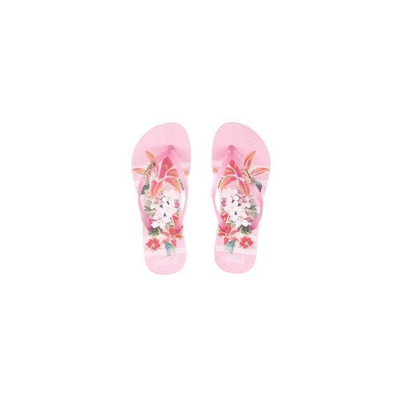 Chinelo Coca Cola Shoes Feminino Flower Stripes Cc2581