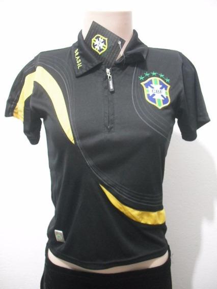 Camiseta Blusa Camisa Polo Dry Preta Cbf Tam 6 Sem Uso