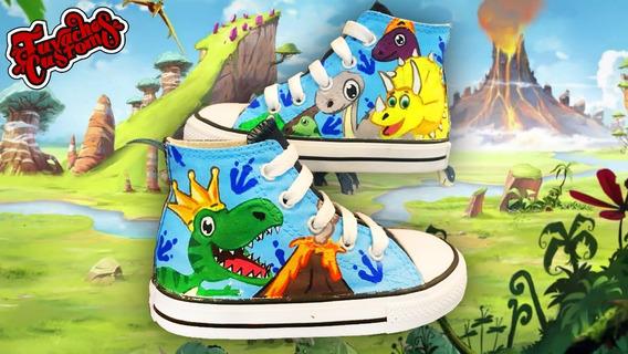 Tenis Pintado A Mano Personalizado Dinosarios 04