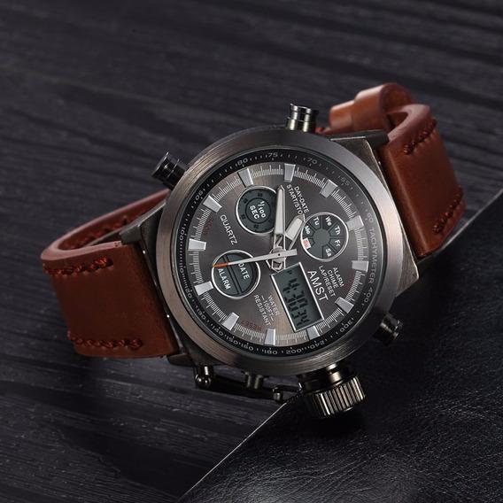 Relógio Masculino Original Couro Amst Social Frete Grátis !!