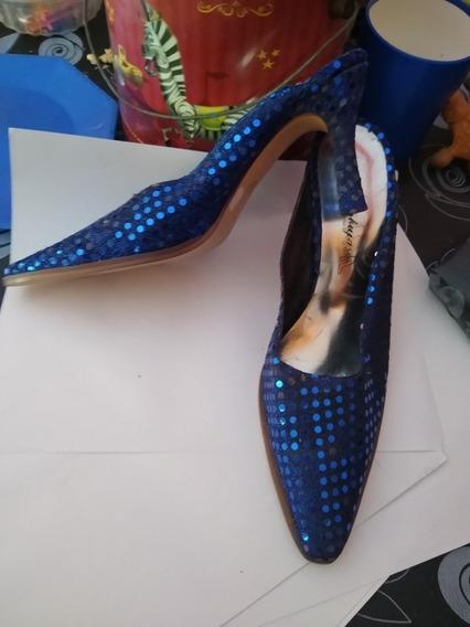 Zapatos Brillosos Azul