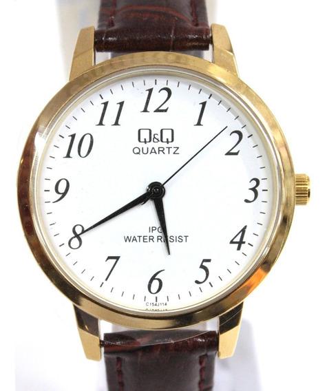 Relógio Q&q Analógio Dourado Pulseira De Couroref: C154j114y