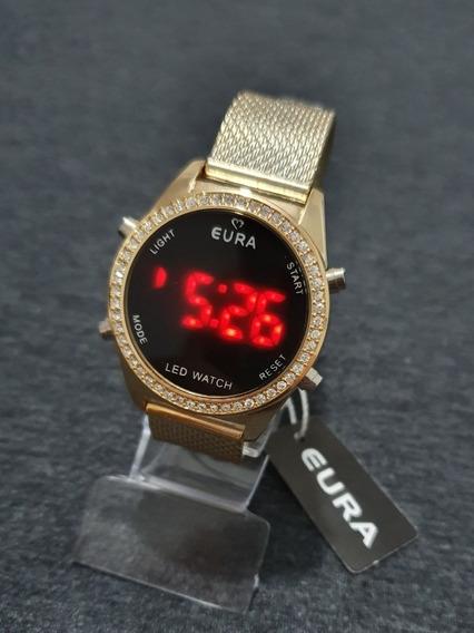 Relógio Feminino Original Eura Led/digital Dourado C/strass