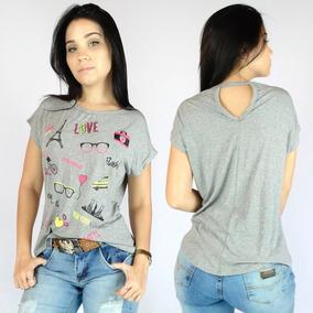 Kit 2 Camisa Feminina Estampada Aberta Nas Costas 258