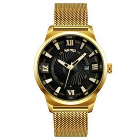 Relógio Skmei 9166 Original Dourado Com Azul Frete Grátis