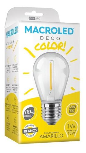 Macroled Lampara Led Deco Color Amarillo Gota 1w S14 E27