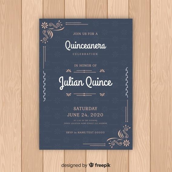 Invitacion Tarjeta Imprimible 15 Años Casamiento M122